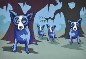 Джордж Rodrigue голубой собаки Walkin Новый Орлеан Home Decor расписанную HD Печать картины маслом на холсте Wall Art Холст картинки 200116