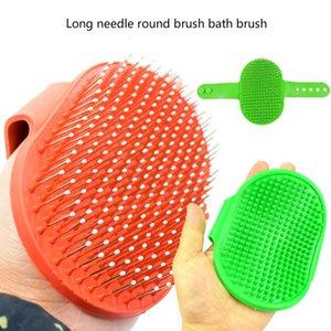 aço inoxidável agulha longa escova redonda pet escova com borracha banho de escova de limpeza ponto de massagem