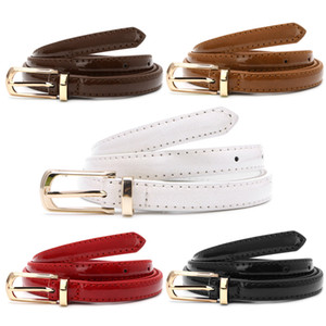 Female Straps Leather Belt Waistband Cummerbund For Apparel Accessories Candy Color Metal Buckle Thin Casual Belt For Women