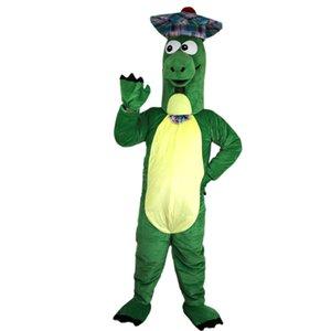 2018 Новый зеленый динозавр носить шляпу Mascot костюмы для взрослых цирк Рождество Хэллоуин Outfit Костюмированный костюм Free Shipping01