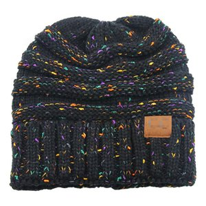 Messy Hat CC Quality Knit Winter Thick Knitted Hat Soft Stretch Knit Messy High Knitted Hat