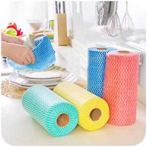 50pcs / Roll non tessuto Strofinaccio non tessuto monouso Wash Cloth Kitchen Restaurant Strofinaccio Rags monouso a panno pulito casa