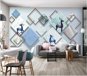 3d room wallpaer custom mural photo Nordic solid geometric elk bird TV background painting canvas pictu murals wallpaper for walls 3 d