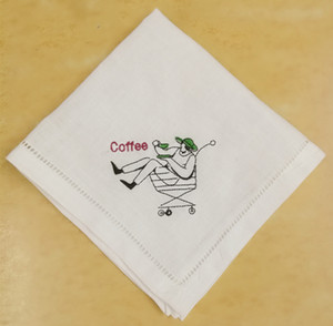 Set of 12 Home Textiles Fashion Coffee Hankies White Hemstitched Linen Tea Napkins with Embroidered Design Handkerchiefs12x12-inch