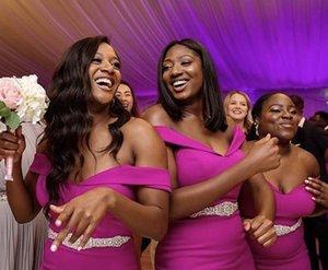 Plus Size Fuchsia Bridesmaid Dresses Mermaid 2020 Off The Shoulder Satin Maid Of Honor Gowns Satin Crystals Belt Wedding Guest Dress AL6483