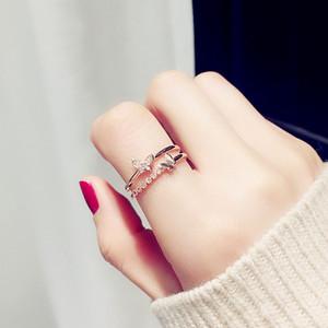 Nouvelle mode designer de luxe femmes papillon anneau ajouré diamant deux bague de mariage papillon simple personnalité anneau ouverture