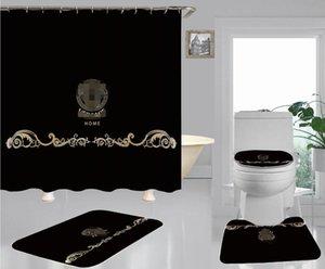 Preto clássico Toilet Seat Cover Deusa ouro impressão cortina de chuveiro Antiderrapante Pavimento Mat Define Para Estilo europeu casa Decore