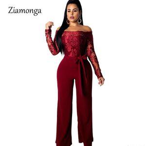Ziamonga Lace Patchwork Jumpsuit Women Sexy Off Shoulder Slash Neck Long Sleeve Women Jumpsuit Elegant Slim Wide Pants