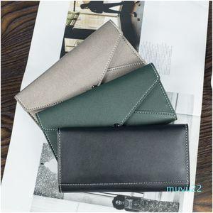 Designer-Women's wallet long large capacity multi-function clutch bag Korean version of the simple money clip buckle mobile phone bag