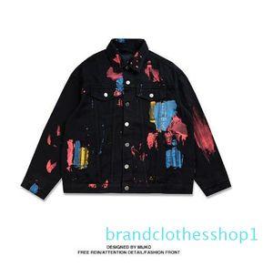 Mens Splash Paint Jackets Black White Street Denim Jacket Luxury Men Streetwear Brand Wear on Both Sides Long Sleeve Clothes