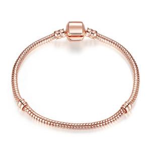 Otantik Gümüş Kaplama Yılan Zinciri 18K Rose Gold 3mm Yılan Zincir Bileklik Fit Pandora Gümüş Charms Avrupa Boncuk Bilezik DIY Takı