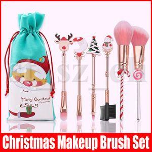 Regalo de Navidad 6pcs portátiles / conjunto de cepillo del maquillaje Elk muñeco de nieve luna del árbol Decoraciones Labios coloridos ojos Blush Polvos Herramientas el cepillo
