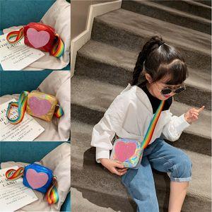 Bolsa Da Moeda Para A Menina Bolsa Crianças Carteira Saco de Ombro Do Miúdo Saco de Coração A Laser Arco-íris Do Bebê Mini Saco Da Moeda