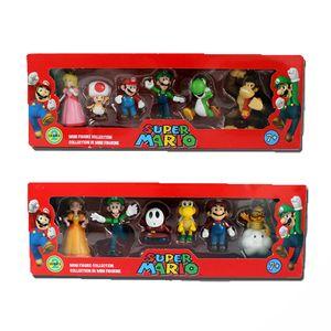 6 pçs / set 3-7 cm Super Bros Pvc Figura de Ação Brinquedos Bonecas Mario Luigi Yoshi Cogumelo Donkey Kong Na Caixa Adorável Caçoa o Presente C19041501