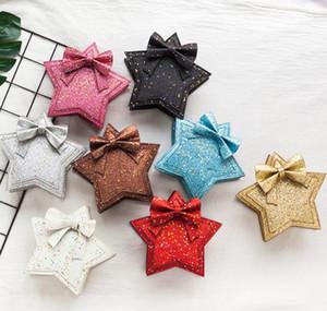 Bolso de hombro con lentejuelas para niña Bolso de estrella de cinco puntas Bolso de mensajero con pentagrama para niños Bolso de princesa encantadora Bowknot Bolsos GGA2494