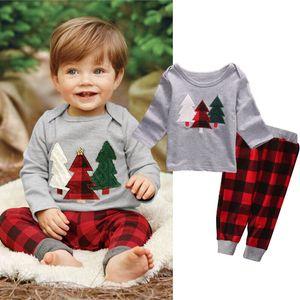 2019 Bébé Printemps Automne Vêtements tout-petits enfants bébé garçon Vêtements fille d'arbre de Noël T-shirt Tops Plaid Pant Tenues Set de Noël