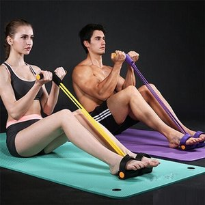 New 4 Tube Fitness Gum Resistance Bands Latex Pedal Exerciser Sit-up Pull Rope Expander Elastic Bands Yoga Equipment Pilates Workout Tool