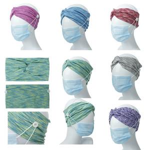 Девушка повязка на голову с кнопкой для уха защитная маска женщины тренажерный зал спорт йога скрещенные Hairbands Headwrap эластичные аксессуары для волос