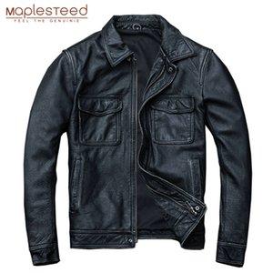MAPLESTEED Negro de la vendimia de cuero real de los hombres de la chaqueta 100% del becerro natural de la piel rojo marrón de cuero Chaquetas de capa de los hombres M174 otoño