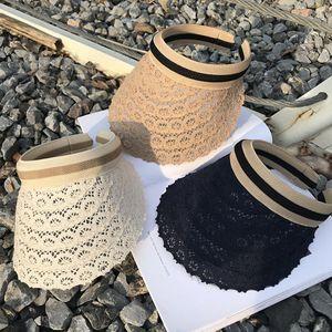 Лето кружева пустой топ козырек открытый мода полый пляж шляпа цветочный узор кружева защита от Солнца УФ крышка LJJO7938