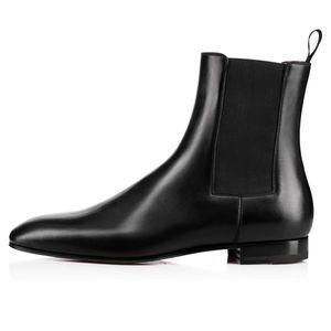 Kırmızı Alt Roadie Düz Adam Bilek Boots Kadınlar Lüks Tasarımcı Açık Kırmızı Sole Walking EU35-47 Açık Sıcak satış-Deri Ayak bileği Boots Erkekler Kayma