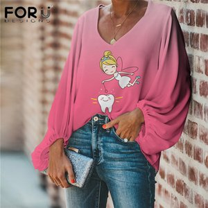FORUDESIGNS Women Girls Tops And Shirts Cute Pink Fairy with Teeth Printing Vintage Summer V-Neck Blouse Long Sleeves Lady Blusa