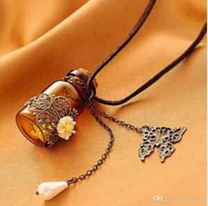 """Glass bottle Aromatherapy Essential Oil Diffuser Necklace Locket Pendant Jewelry with 24"""" Chain and 3 Washable NE577"""