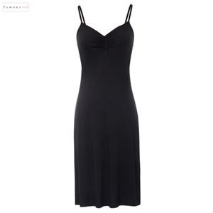 Para mujer del vestido lleno de seda desliza con el sujetador atractivo del V cuello femenino de la enagua de seda 100% seda resbalones Ropa de diseño