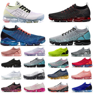 Nike Air Max Vapormax Flyknit Vapors 2.0 Fly 3.0 malha Running Shoes Bred CNY azul Fúria South Beach All Black Triplo White Men Designer Sports Sneakers Tamanho 36-46 instrutor