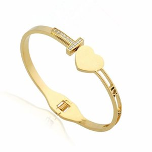 El diseñador de moda de joyería de las mujeres pulseras pulsera de moda T circón brazalete amor libre del envío