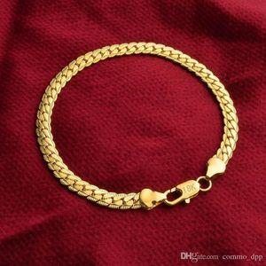 Catene 5 millimetri Snake Bracciale in oro 18 carati placcato e argento sterling 925 uomini S link braccialetto per le donne monili di Hip Hop In Bulk