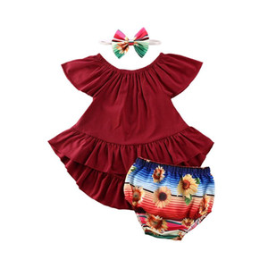 0-24M Newborn Infant Baby Girls Clothes Sets 3pcs Ruffles Solid Dress Tops+Flowers Print Shorts+Headband