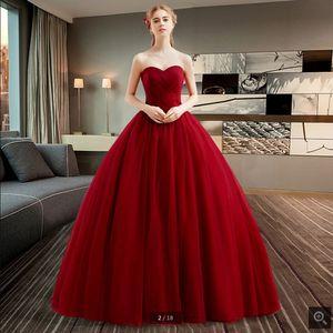 robe de soiree бордовый бальное платье плиссированные простое платье выпускного вечера без бретелек возлюбленной декольте принцесса пухлые длинные платья выпускного вечера лучшие продажи