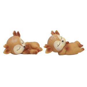 2ST Schlafen Deer Figuren Spielzeug Desktop Home-Dekor-Silikon-Kitz-Verzierung
