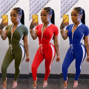 Summer Womens Designer Fashion Suits Zipper Design Tops Solid Color Trousers Women Two Piece Summer Outfits Pants Set