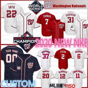 2020 Washington personalizada Jersey de béisbol 22 Juan Soto 31 Max Scherzer 7 Trea Turner 6 Anthony Rendon Wilmer Difo Zimmerman