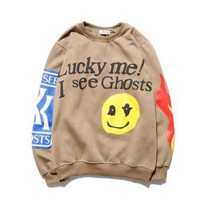 """Mens Designer Hoodies """"Lucky me vedo Ghosts"""" Logo Stampa Felpa con cappuccio Uomo Donna Autunno Inverno nero del cotone di lusso con cappuccio Felpe Tour Series"""