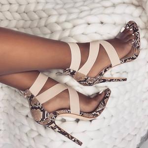 New patchwork elástica tamanho cruzadas de tiras de salto alto sapatos femininos sapatos de 35 a 40
