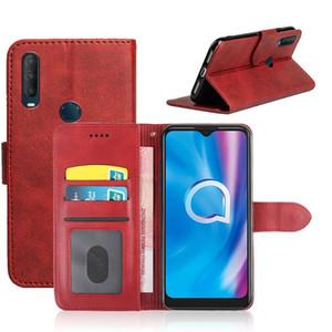 Lüks Ayaklı Deri cüzdan Kılıf İçin Alcatel 1S 1B 2020 3C 7 2019 arka kapak telefon numarası kart yuvası ile Kılıf