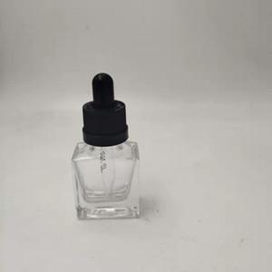 Vape boş kare cam şişe kavanoz belirgin kapak ejuice uçucu yağ 15ml 30ml 50ml 100ml müdahale çocuk korumalı yağ damlatma şişeleri duman
