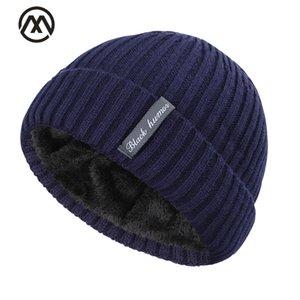 2019 classic men's hat winter label striped men's skull cap plus velvet men and women knit hat outdoor warm winter men's peas