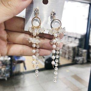 Orecchini di goccia elegante simulato branello della perla di cristallo lunga Triangolo Tassel