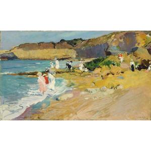 El boyalı Joaquin Sorolla y Bastida resimlerinde Kayalar ve Deniz Feneri, Biarritz Manzara sanat sergisi duvar dekoru