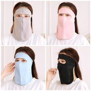 Masque facial glace soie tête à cheval Pure Color Anti Spittling Splash Neck Protect Masques bouche respirateurs poussière Mascherine 3 Lavable 08ry E1