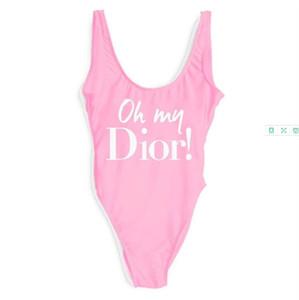 Designer Womens Bikini lusso Lettera D stampato un pezzo dello Swimwear sexy del Beachwear Backless della maglia per donne sexy bikini di estate 7 colori.