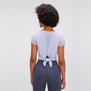 Luyogasports Lu Футболки сплошной цвет йоги с коротким рукавом LU Tops Light Mesh дышащая влагопоглощающая футболка для поглощения
