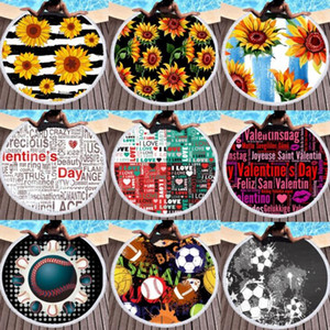 Round Sunflower Beach Towel Baseball Football Blanket Beach Cover Letter Printed Tassel Towels Summer Bath Towel Yoga Mat GGA1989