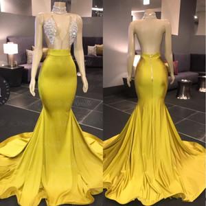 2020 Nouvelle arabe col V manches sirène Robes de bal balayage train Crytal Stain formelle robe de soirée de fiesta africaine Vestido