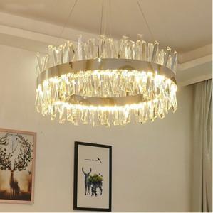 Lampadario di cristallo di illuminazione a sospensione lampade a luce per l'oro / Cromo Salone di lusso Luster Moderne LED Lampadari Sala Luster De Cristal