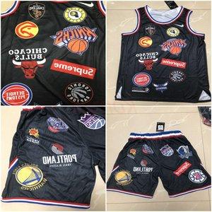 Sup Nie 18ss Equipos camiseta del jersey cosidoNBA deporte Sup 94 Negro Hip Hop blanca corta camisetas para hombre baratos camisetas de baloncesto Pantalones cortos